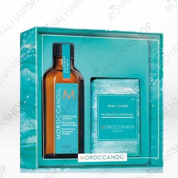 Et bundle med moroccanoil treatment og en moroccanoil kropsæbe