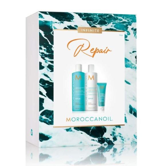 Moroccanoil repair kit med shampoo, conditioner og mending infusion